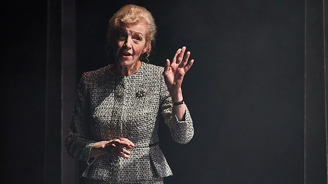 Susan Twist (Polonius) in Hamlet at Leeds Playhouse. Photography by David Lindsay
