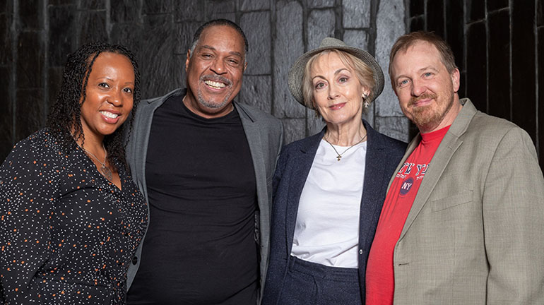 Director Suzann McLean with the cast of Driving Miss Daisy - Maurey Richards, Paula Wilcox and Cory English. Credit Shaun Conway Photography