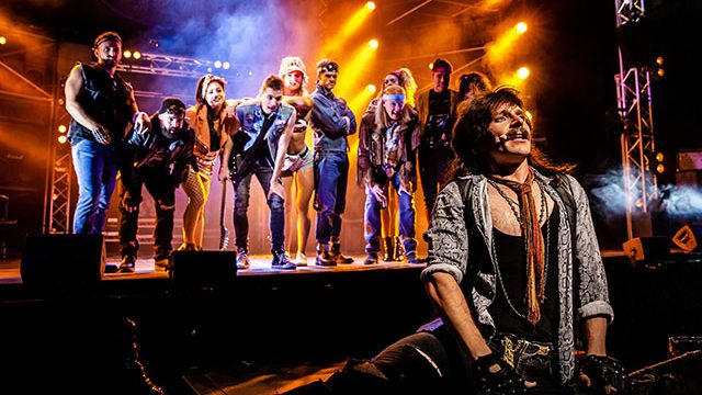 Lucas Rush as Lonny in Rock of Ages. Credit: Richard Davenport.