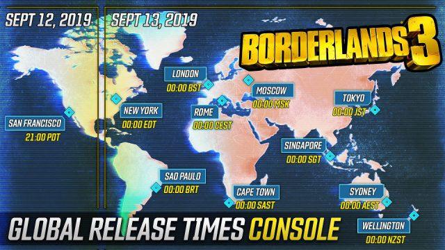 Borderlands 3 - console release schedule