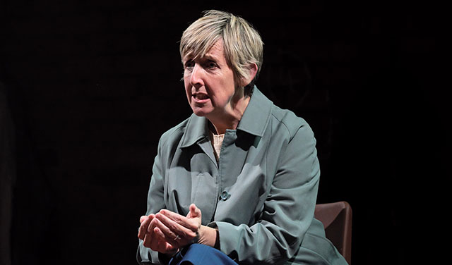 Julie Hesmondhalgh in There Are No Beginnings at Leeds Playhouse. Credit: Zoe Martin.