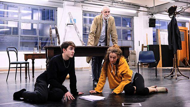Danny Sykes, Robert Pickavance and Gemma Barnett in rehearsal. Credit - Zoe Martin