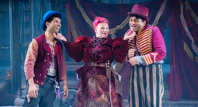 Mitesh Soni as Charley, Caroline Parker as Fagin, and Nadeem Islam as the Artful Dodger. Photographer - Anthony Robling.