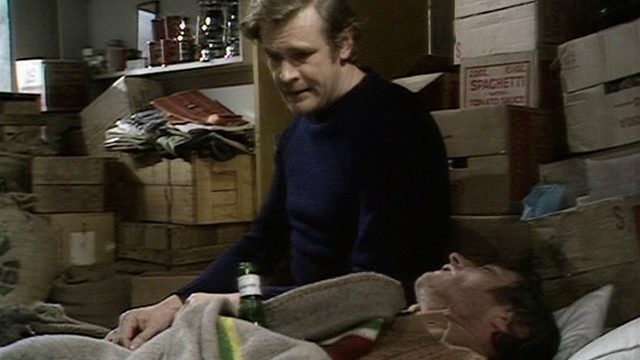 Greg Preston (Ian McCulloch) comforts Vic in Genesis. Credit: BBC Worldwide.