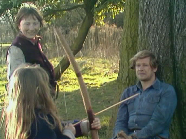 Greg Preston (Ian McCulloch) runs into a youth movement in A Little Learning. Credit: BBC Worldwide.