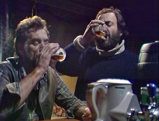 Cheers! Alec (William Dysart) and Charles (Denis Lill) having a post-pandemic pint in The Enemy. Credit: BBC Worldwide.